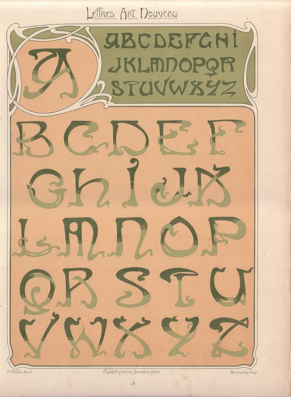 Original Art Nouveau Lithograph of Decorative Alphabet by artdecor