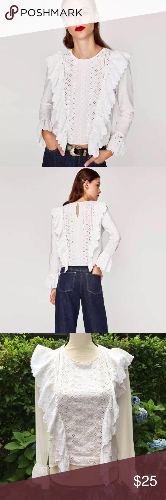 White Cotton Eyelet Blouse peplum waist vintage size small romantic minimalist medium