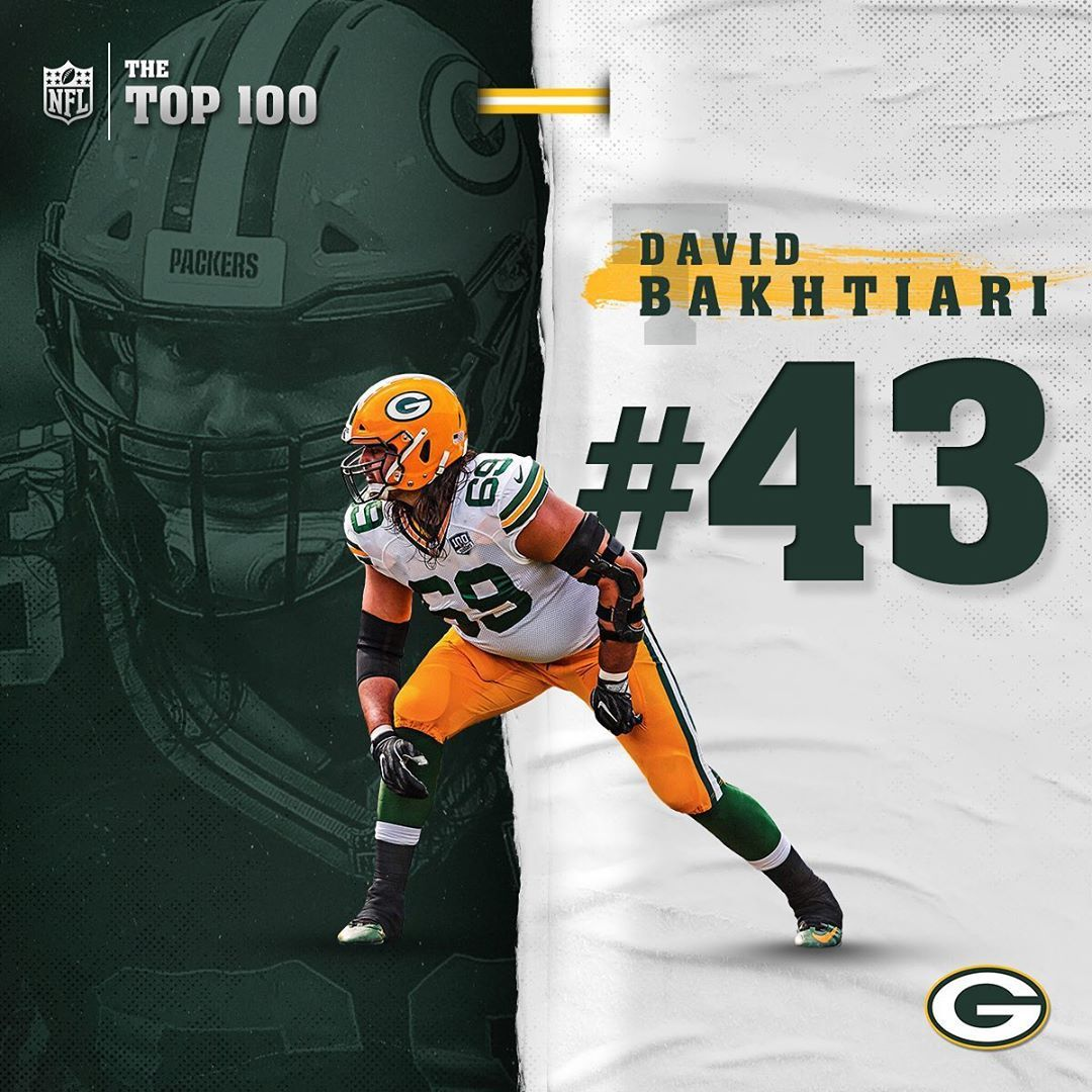 Green Bay Packers Our Left Tackle Davidbakhtiari Checks In At No 43 On The Nfltop100 Football Greenbay Gr Green Bay Packers Packers Green Bay