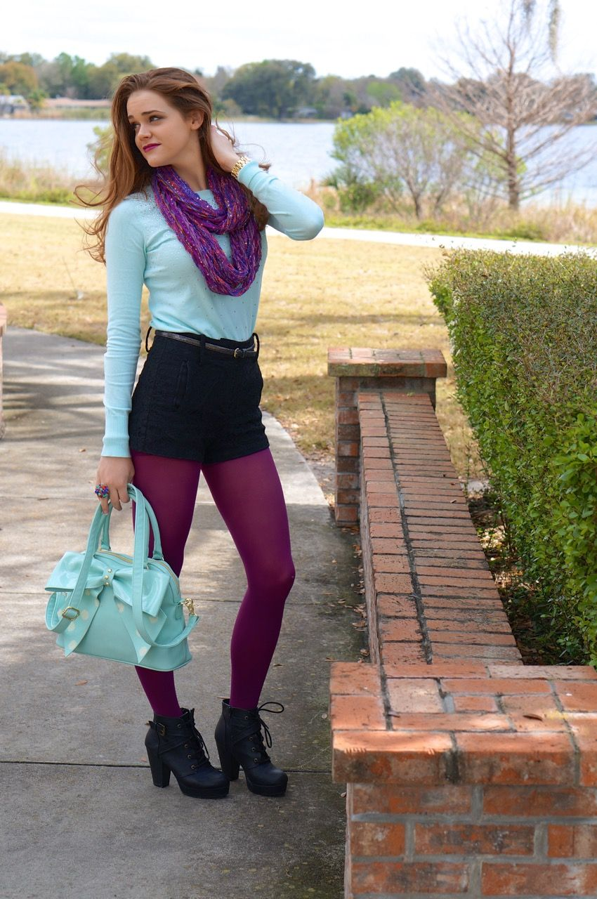 Shorts and Tights, such a fun fall or winter outfit!