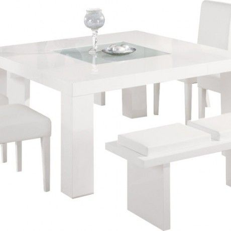 Contemporary White Dining Room Set With Gloss Modern Table Feature Glass Top Centre And Bench Also Leather C