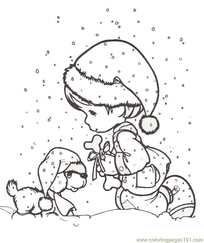boy and puppy in the snow  precious moments coloring