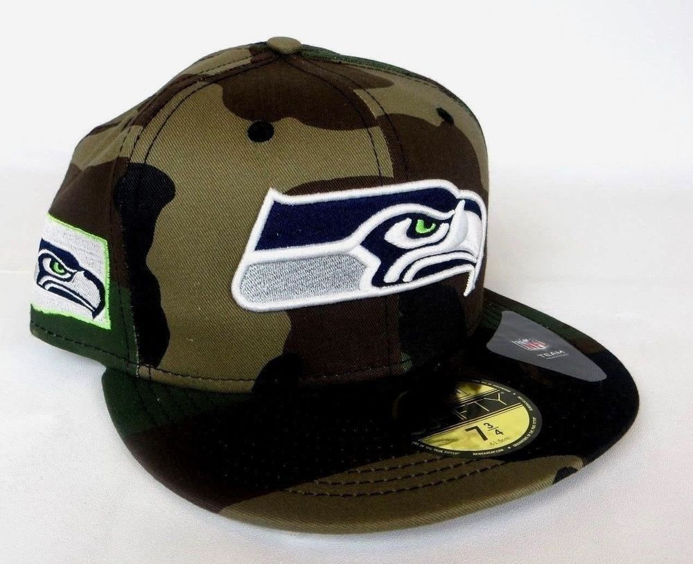 4aa4c3c0 Details about Camo Seahawks Hat With Logo in WA State Outline New ...
