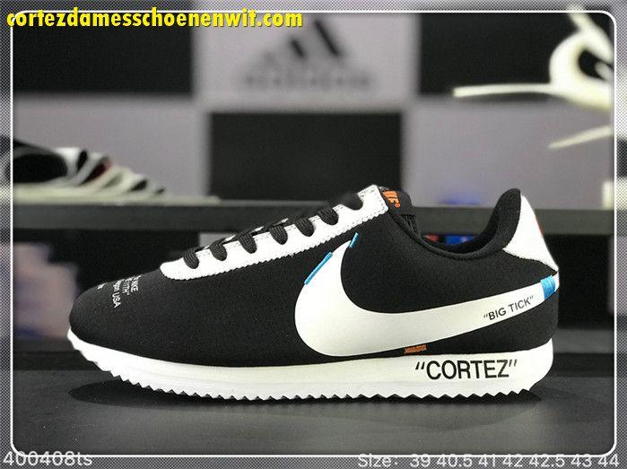 brand new 8b270 9fdfd OFF-WHITE x Nike Cortez Damesschoenen Zwart Wit