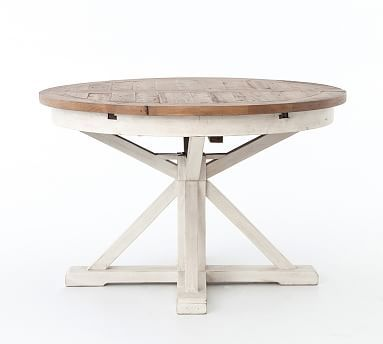 Hart Round Reclaimed Wood Pedestal Extending Dining Table Driftwood White Expandable Round Dining Table Round Extendable Dining Table Pedestal Dining Table