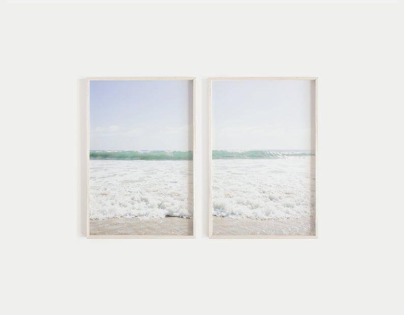 Ocean Print Set Of 2 Prints Beach Diptych Pastel Beach Wall Art