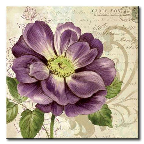 GlA_575_Study in Purple I / Cuadro Flores, Flor lila sobre fondo Vintage