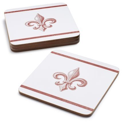 Fleur de Lys Cork Backed Coasters Set of 4 from Sur La Table on shop.CatalogSpree.com, your personal digital mall.
