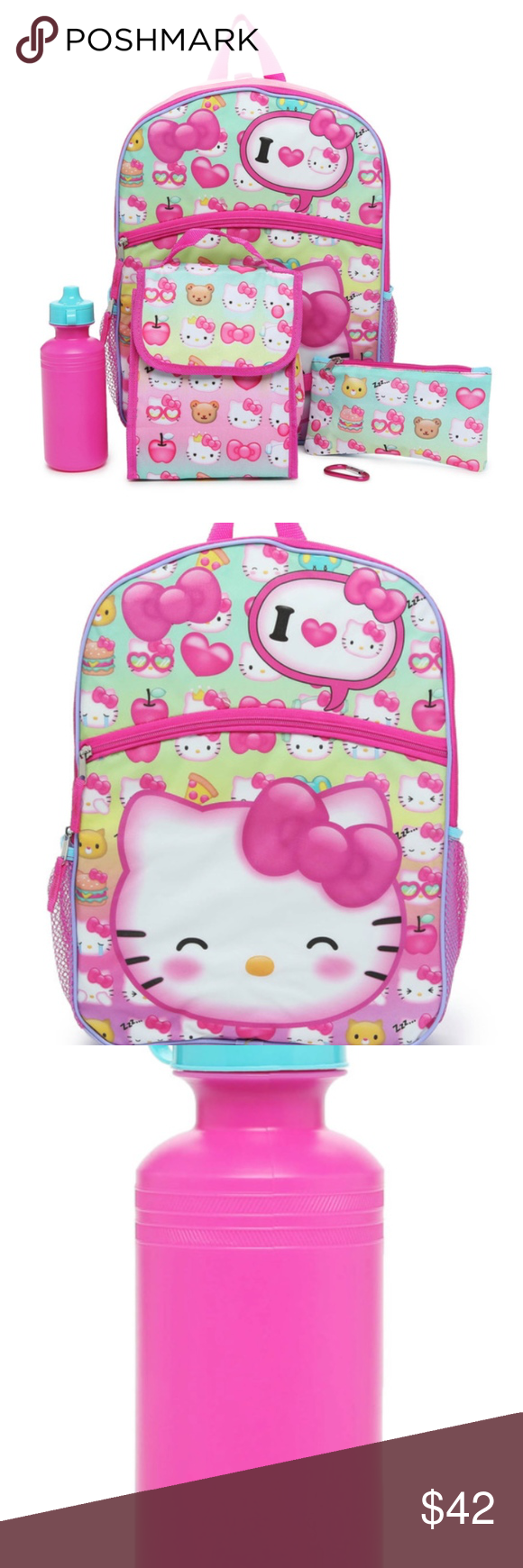 88e01ae16 Hello Kitty 5-Piece Set Includes Backpack+ 5-piece set includes backpack,  lunch bag, pencil case, water bottle, and carabiner Features Hello Kitty  graphics ...