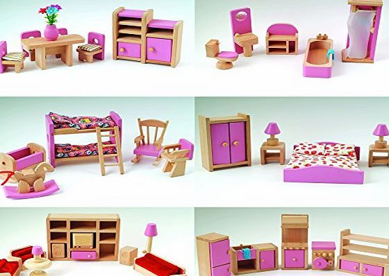 cs wooden pink wooden dolls house furniture 6 room set 4 dolls age 3 ce miniature