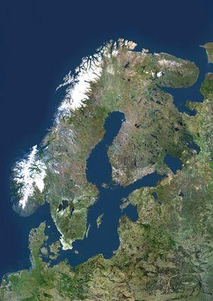 Scandinavia Satellite Digital Map Norway Sweden Finland Scandinavia Sweden