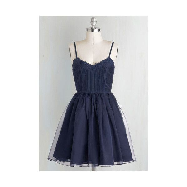Short Length Spaghetti Straps Ballerina Navy Too Late Dress (€58) ❤ liked on Polyvore featuring dresses, apparel, blue, navy blue cocktail dress, navy cocktail dress, a line dress, short navy dress and gold cocktail dress
