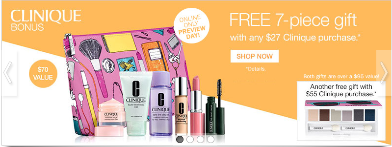 Clinique gift with purchase - 7 pcs with $27 purchase + more