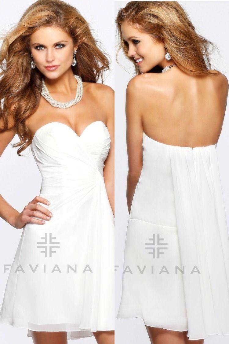 Faviana 7075a Evening Mini Dresses Little White Dresses Chiffon Cocktail Dress [ 1125 x 750 Pixel ]