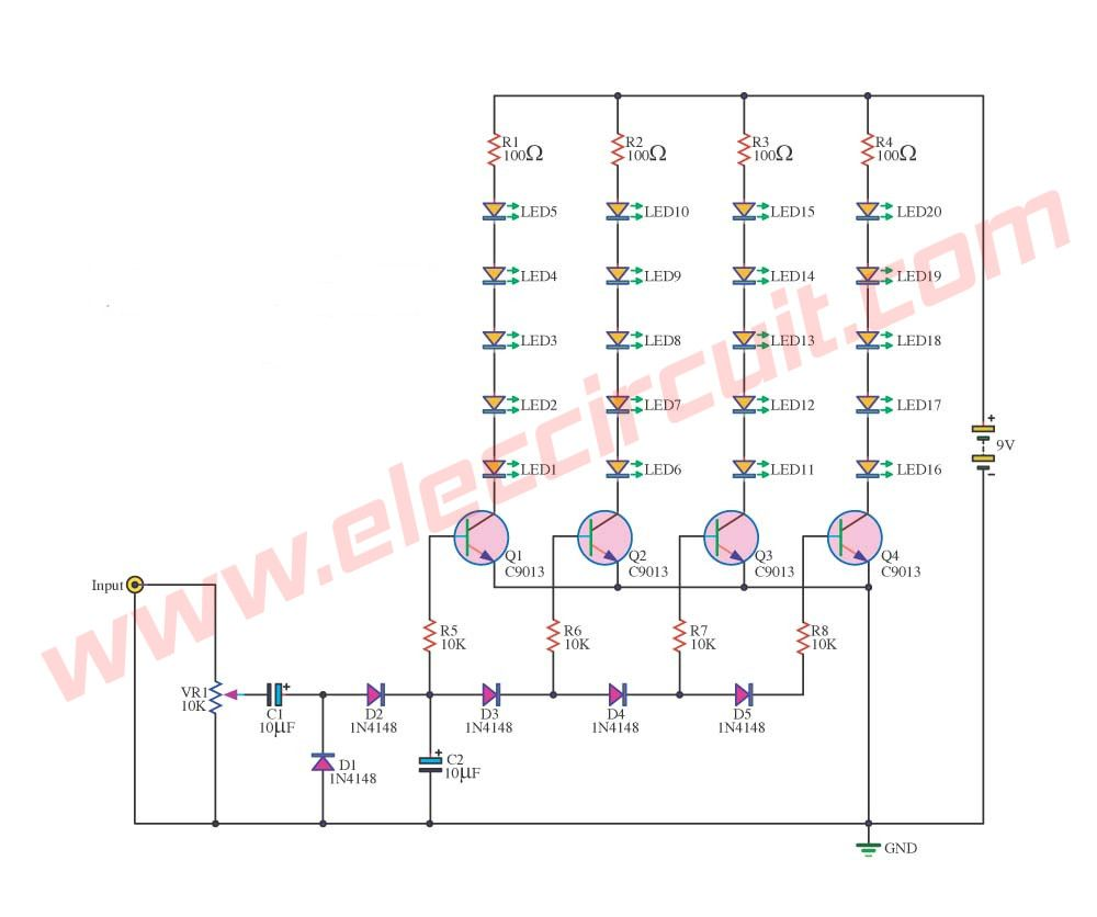 Analog Led Vu Meter Circuit Using Transistors Lighting Circuits Transformerless Power Supply Eleccircuitcom 25 Leds