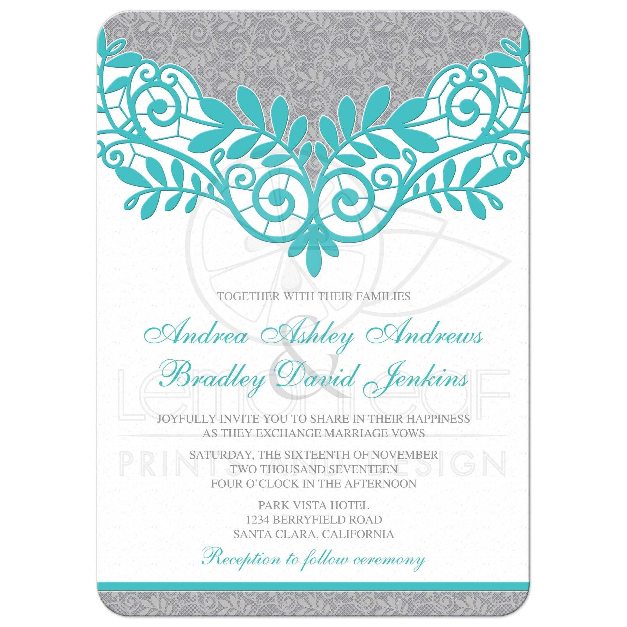 Turquoise Silver Wedding Invitation Silver Grey And Turquoise Lace Silver Wedding Invitations Silver Invitation Trendy Wedding Invitations