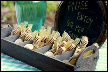 30th wedding anniversary party favors - honey sticks   Hostess ...