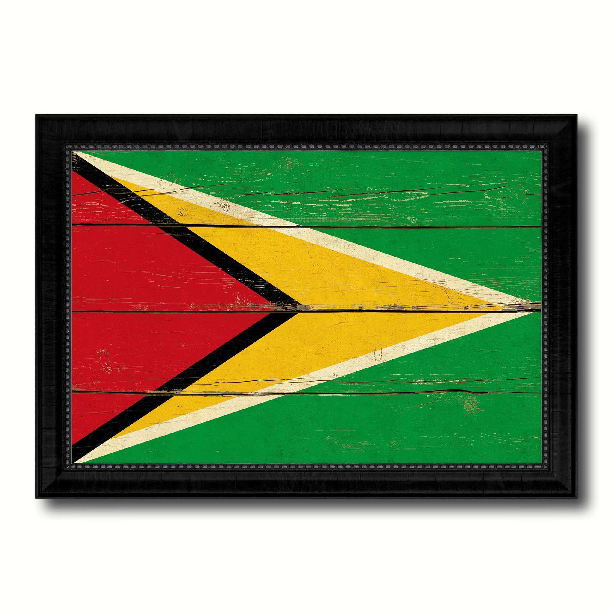 Guyana Country Flag Vintage Canvas Print with Black Picture Frame ...