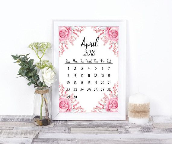 Calendar 2018 12 Month Printable Wall Calendar Digital Print