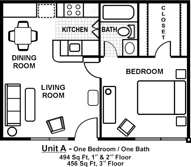 One room one bed one bath floor plan with garage for 1 bedroom apartment plans