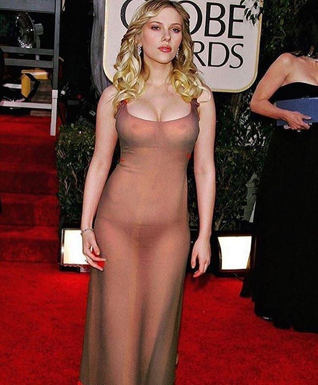Sexy Scarlett Johansson In A See Through Dress Exposing -9220