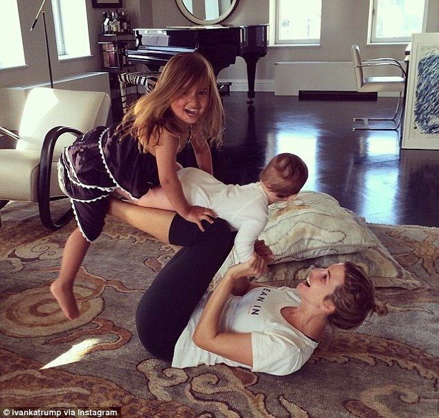 Family work-out: Yesterday morning, Ivanka Trump playfully incorporated her children - eight-month-old Joseph and Arabella, who is nearly three - ...