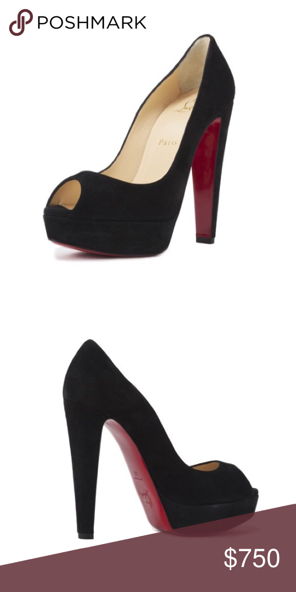 a59258397f4a Christian Louboutin suede platform Suede Peep-toe Leather lined Signature  red leather sole 5