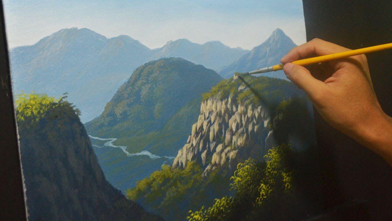 Acrylic Landscape Painting Lesson Mountains And Cliffs 2 By Jmlisondra Landschaften Malen Acrylmalerei Bilder