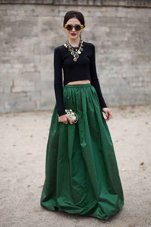 Street Style Spring 2013: Paris Fashion Week | Green skirts, Maxi ...