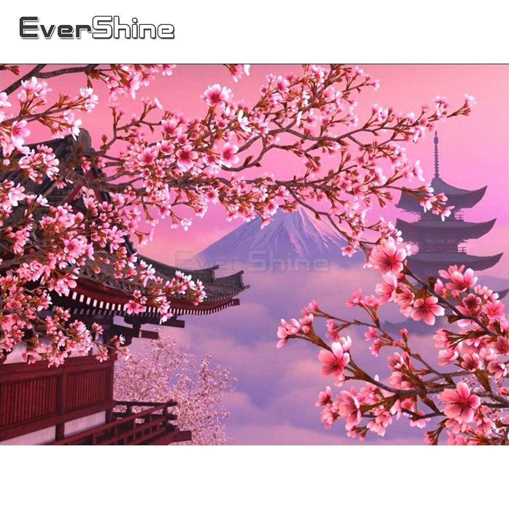 Diamond Embroidery Landscape Picture Of Rhinestones Full Square Japanese Diamond Painting Cherry Blossoms Cherry Blossom Painting Cherry Blossom Wallpaper Japanese Wallpaper Iphone