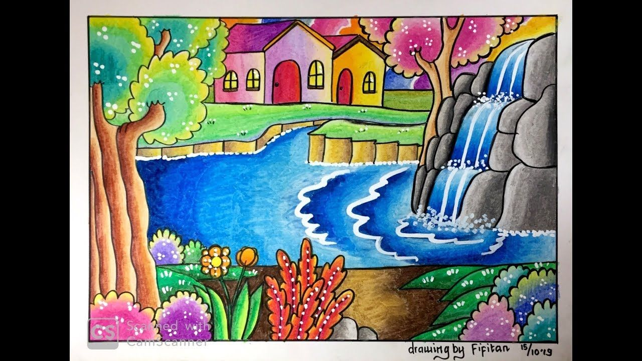 Cara Gradasi Warna Ep 163 Tema Gambar Pemandangan Air Terjun Untuk Pemula Youtube Seni Krayon Pelajaran Seni Pemandangan