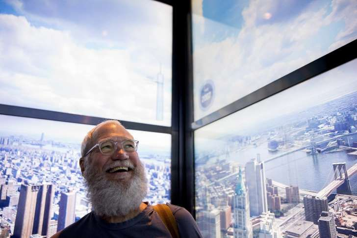 """David Letterman at 1 World Trade Center. Earlier this year, he traveled to India to report on climate change for """"Years of Living Dangerously."""""""