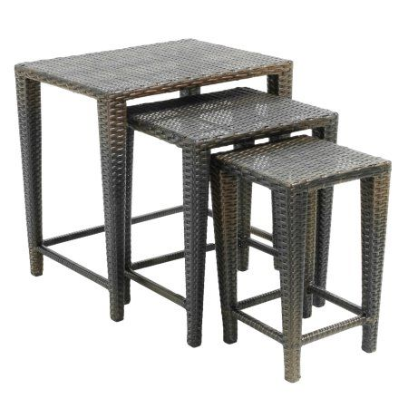 Patio Garden Nesting Tables Table Wicker Side Table