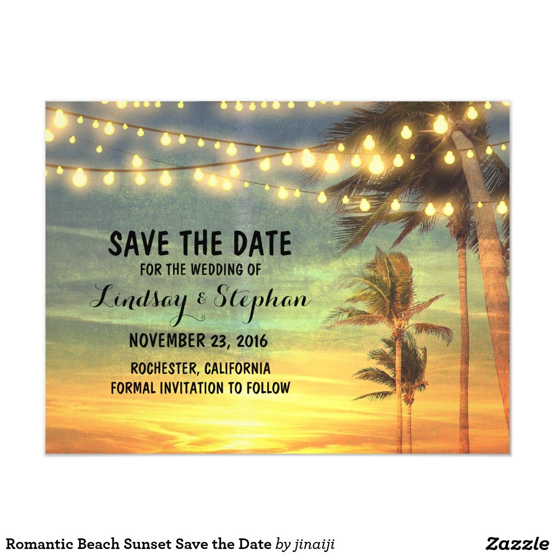 Romantic Beach Sunset Save the Date Magnetic Card String lights and beach sunset romantic save the date magnetic invitations