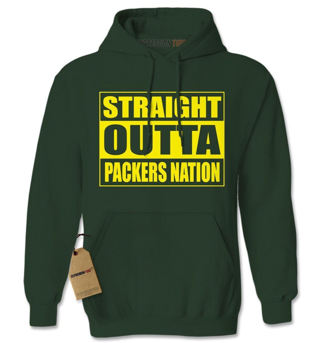 Straight Outta Packers Nation Football Adult Hoodie Sweatshirt