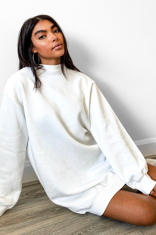Tall Balloon Sleeve Open Back Sweatshirt Dress Boohoo In 2021 Sweatshirt Dress Outfit Sweatshirt Dress White Sweatshirt Dress [ 1500 x 1000 Pixel ]