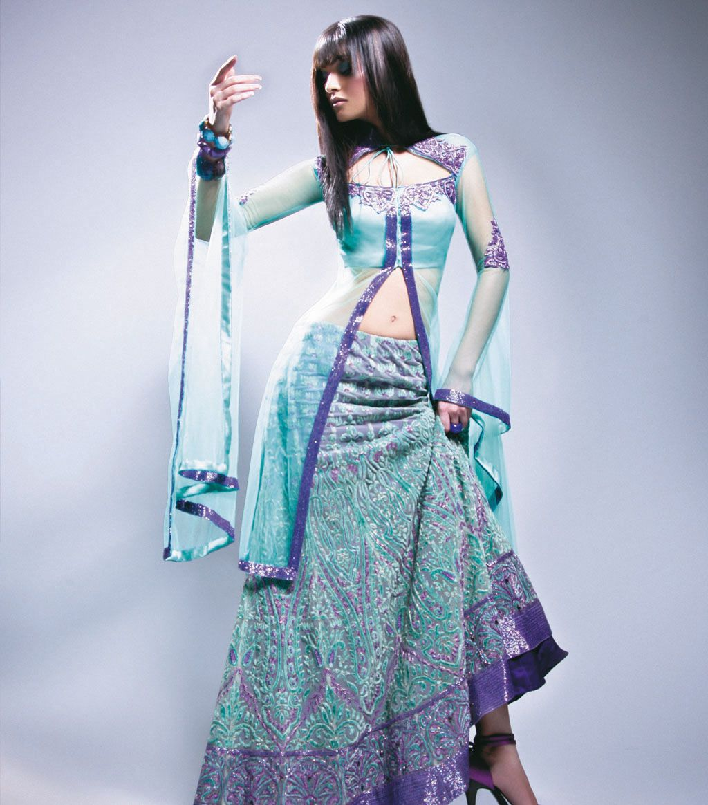 Anarkali Lengha W084 Anarkali top with funky sleeves coupled with ...
