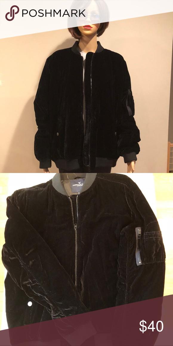 41c4f3843 American Eagle Black Velvet bomber jacket Women's black velvet ...