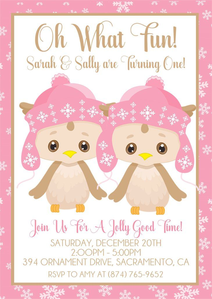 twin girls winter first birthday party invitations