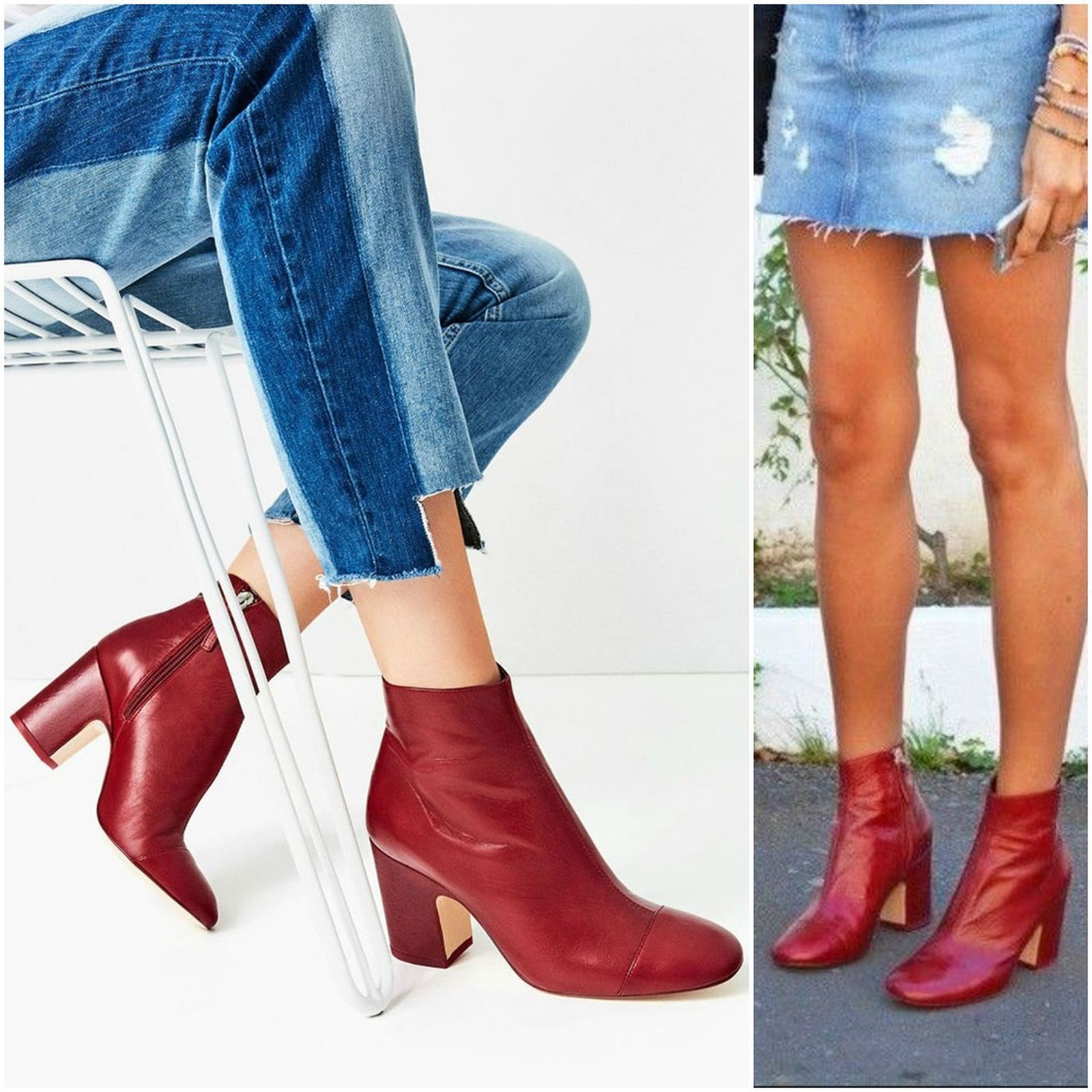 5193bb789e2 BNWT ZARA RED HIGH HEEL LEATHER ANKLE BOOTS WITH TOE CAP 35-41 Ref.  6126 101