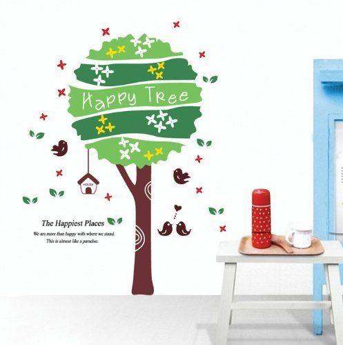 UfingoDecor Glücklich Baum und Vögel Wandsticker