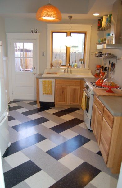 VCT flooring....Cheap, and I love the idea of having it in the ...