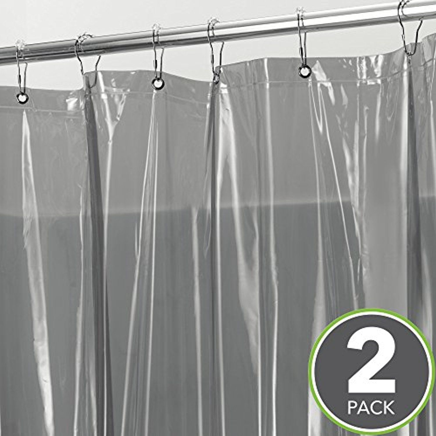 MDesign Extra Long Waterproof Mildew Resistant Heavy Duty Shower Curtain Liner With 3 Magnets For Bathroom And Bathtub AEUR 72 X 84
