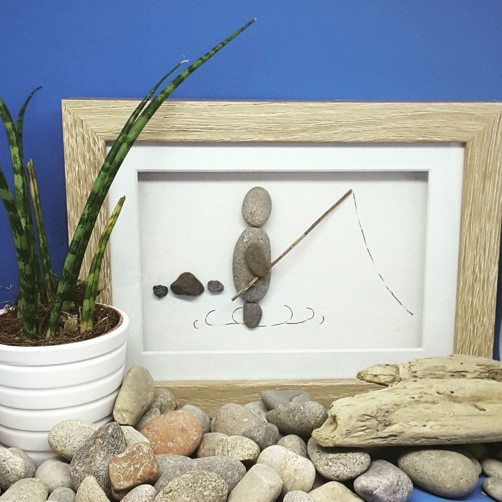Fishing gift for husband Pebble Picture Frame Personalised