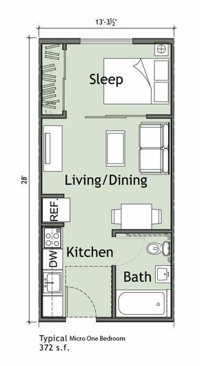 Small Apartment With 1 Bedroom With Images Small Apartment Plans Studio Apartment Floor Plans Apartment Floor Plans