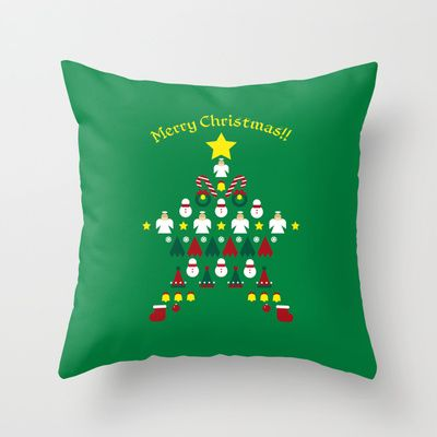 FLAT CHRISTMAS series -CHRISTMAS STAR_G Throw Pillow by SEOL.D - $20.00