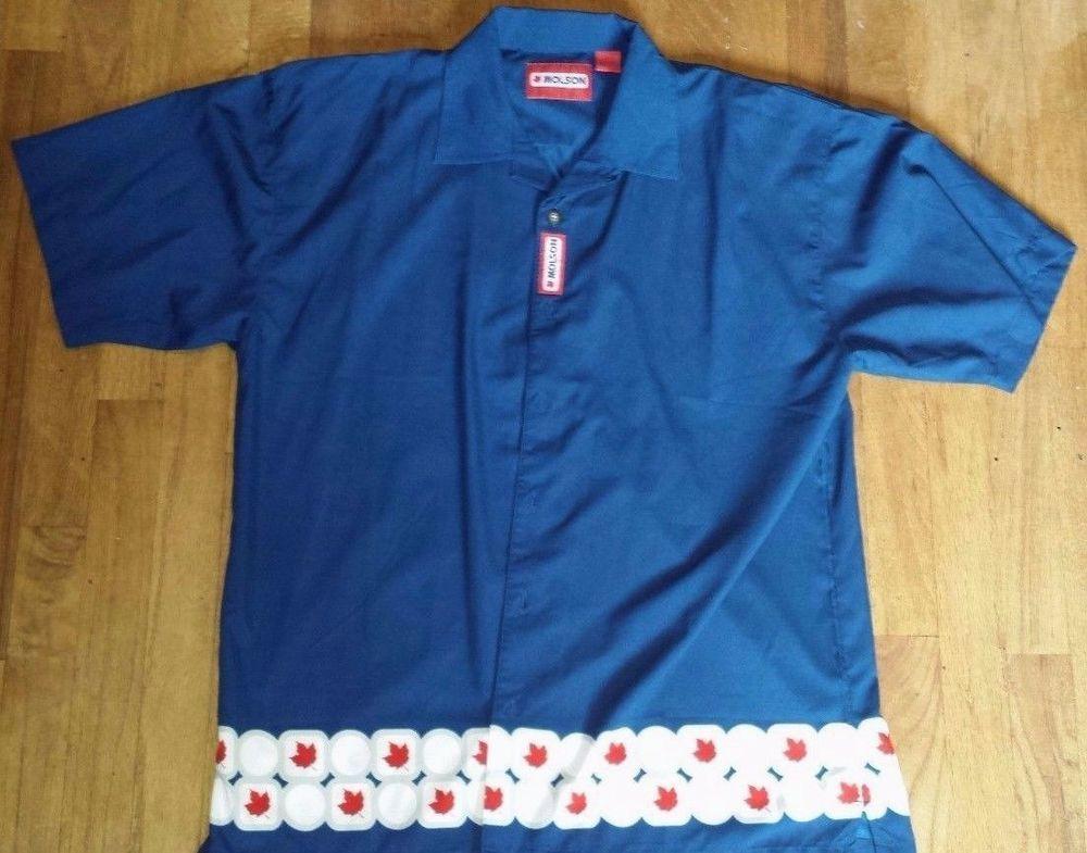 Molson Canadian Beer Hawaiian Bowling Button Front Shirt Blue Large Short Sleeve #Molson #ButtonFront