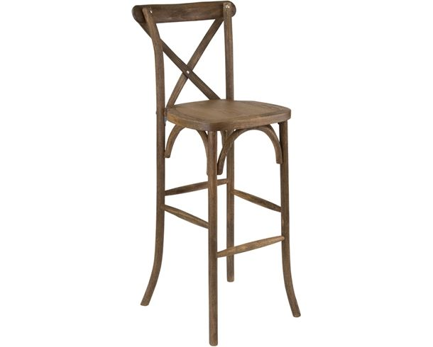 Hercules Series Dark Antique Wood Cross Back Barstool At