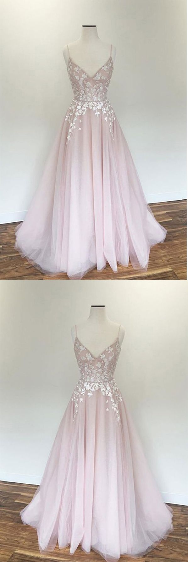 61d01d26be Light Pink V Neck Tulle Long Spaghetti Straps Appliques Prom Dress OKB57 # pink #straps #vneck #aline #tulle #lace #prom #okdresses