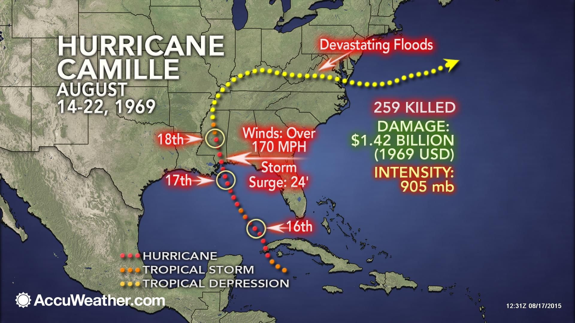 From Accuweather Weatherwhys Hurricane Camille Became The One Of The Most Intense Hurricanes To Impact The United Weather News Storm Surge Hurricane Camille